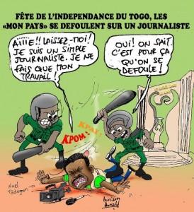 L'agression Noel Tadegnon immortalisée à travers une caricature