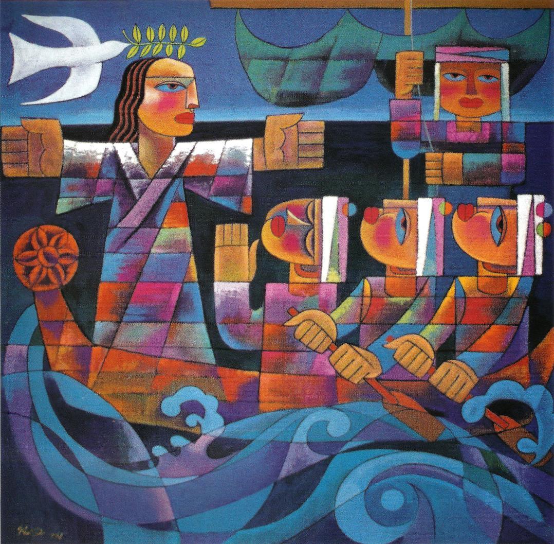 Jesus avec ses Disciples sur le lac (par He Qi)
