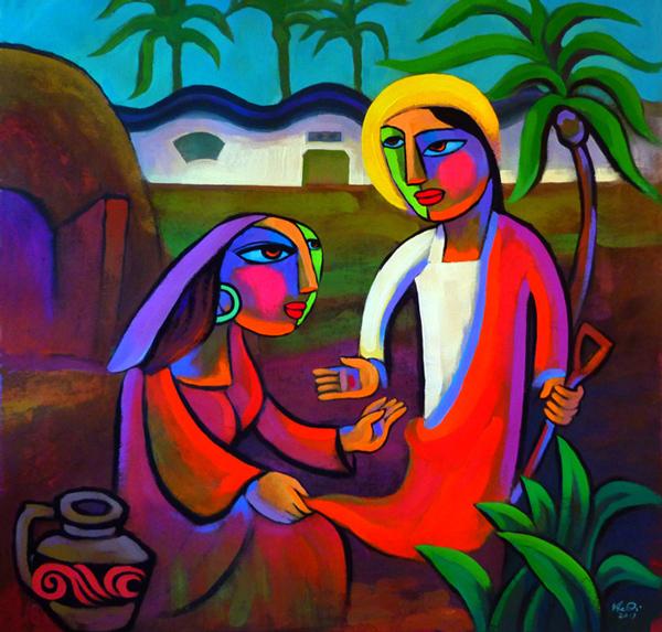 Jesus et Marie-Madeleine au tombeau (par He Qi)